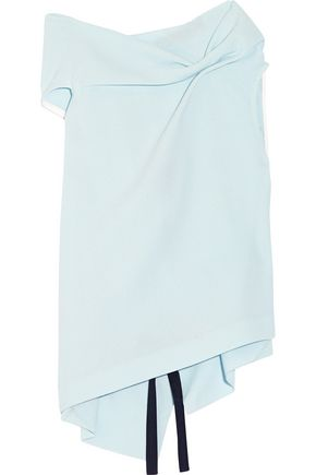 ROLAND MOURET Eugene gathered wool-crepe top