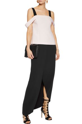 CINQ À SEPT Nova off-the-shoulder mesh-trimmed crepe top