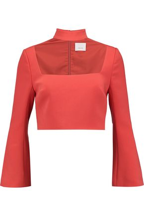 CINQ À SEPT Amara cropped crepe top