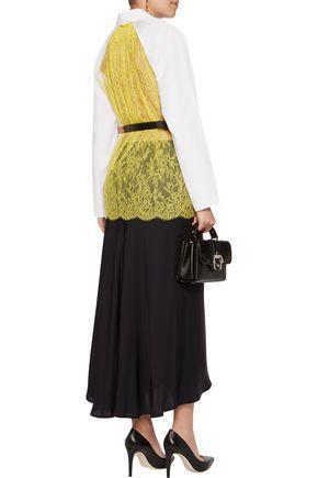 NINA RICCI Two-tone lace-paneled cotton-poplin shirt