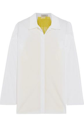 NINA RICCI Two-tone lace-paneled cotton-poplin shirt