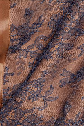 NINA RICCI Caraco lace-paneled taffeta and crepe de chine camisole