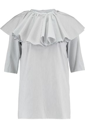 NINA RICCI Ruffled striped cotton-poplin top