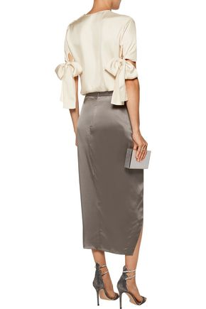 NINA RICCI Bow-embellished silk-twill top