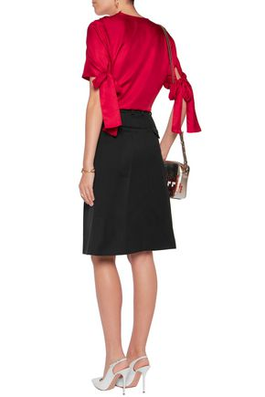 NINA RICCI Bow-embellished silk-twill top