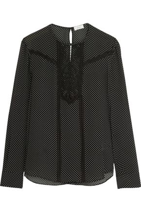 A.L.C. Corded lace-paneled polka-dot silk blouse