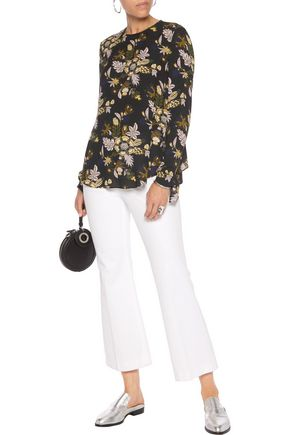 A.L.C. Cooper open-back printed silk-georgette top