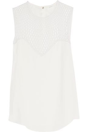 A.L.C. Nicky crocheted silk-paneled crepe top