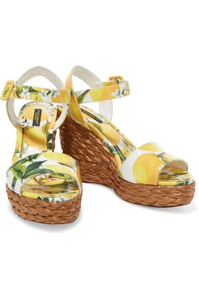 DOLCE & GABBANA Printed patent-leather wedge espadrilles