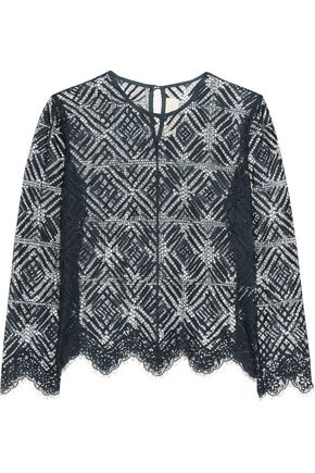 MICHELLE MASON Cotton-blend corded lace top