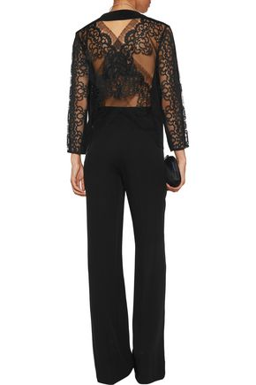MICHELLE MASON Cuout lace-paneled silk top