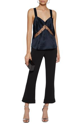 MICHELLE MASON Appliquéd tulle-paneled silk-satin top