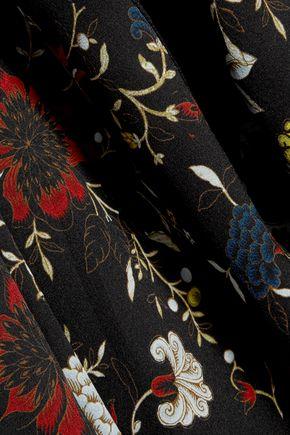 A.L.C. Lace-paneled printed silk-crepe blouse