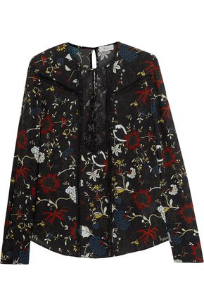 A.L.C. Lace-paneled printed silk-crepe blouse