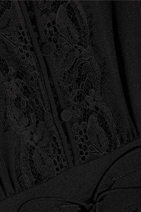 RACHEL ZOE Rita silk chiffon-timmed crepe de chine and lace playsuit
