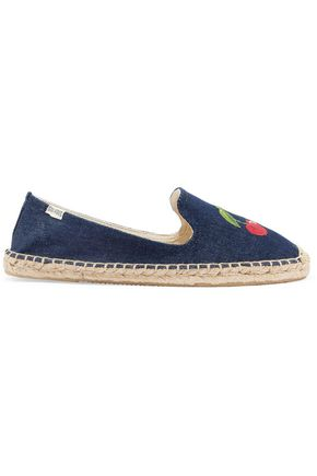SOLUDOS Embroidered denim espadrilles