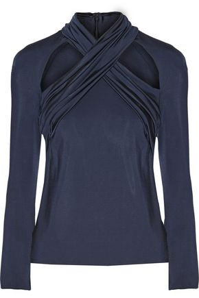 CUSHNIE ET OCHS Cutout crossover-front stretch satin-jersey top