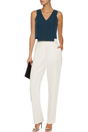 MILLY Cropped stretch-cady top