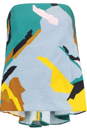 MILLY Strapless printed stretch cotton-poplin top