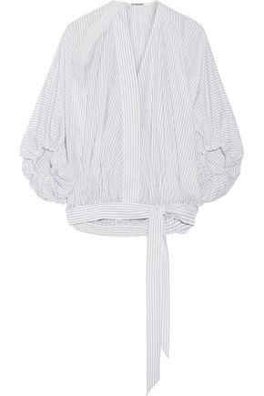 CHALAYAN Striped cotton-poplin blouse