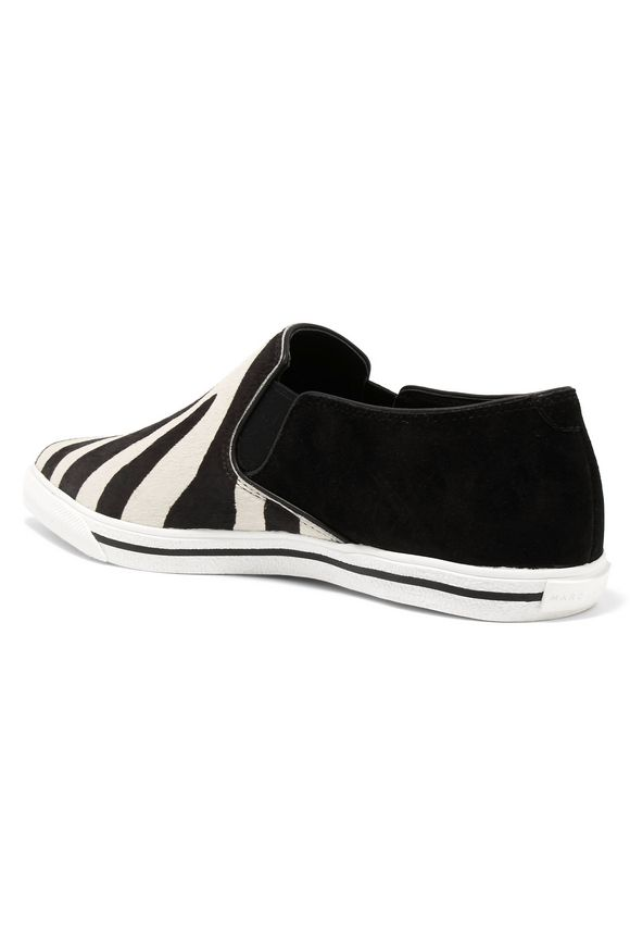 Zebra-print calf-hair sneakers   MARC JACOBS   Sale up to 70% off   THE  OUTNET