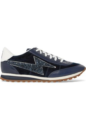 MARC JACOBS Astor Jogger glitter-paneled suede and leather sneakers