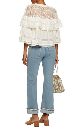 SEA Baja lace-paneled ruffled cotton top
