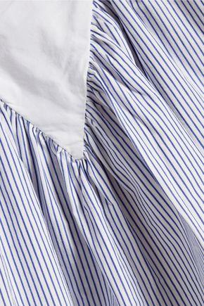 SEA Lace-up striped cotton-poplin top