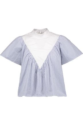 SEA Lace-up striped cotton-poplin top