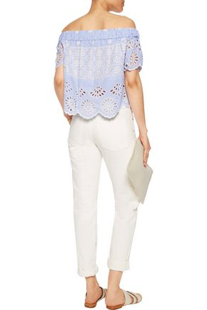 SEA Off-the-shoulder broderie anglaise cotton top