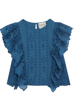 SEA Ruffled broderie anglaise cotton top