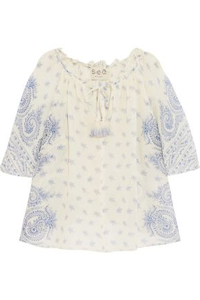 SEA Tasseled printed cotton and silk-blend chiffon top