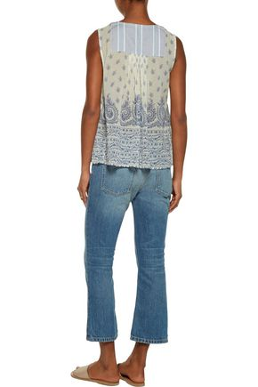 SEA Printed cotton and silk-blend gauze top