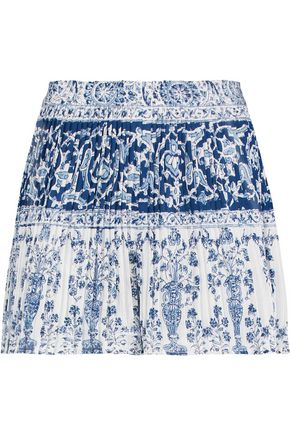 SEA Pleated printed crinkled-cotton shorts
