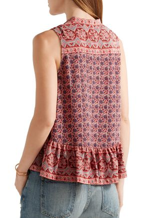 SEA Tassel-trimmed printed silk top