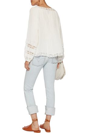 SEA Crochet-trimmed linen and silk-blend blouse