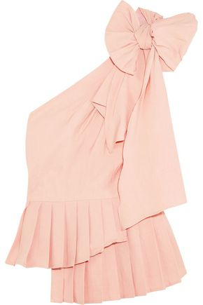 SEA Bow-embellished one-shoulder poplin top