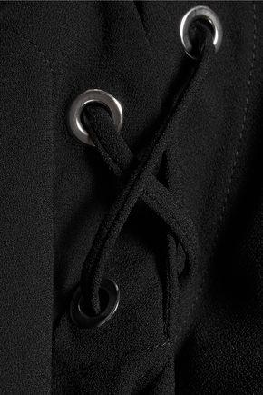 IRO Tikal cold-shoulder lace-up crepe top