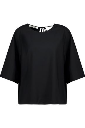 ACNE STUDIOS Mani Dry wrap-effect  stretch-wool crepe top