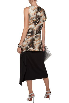 ACNE STUDIOS One-shoulder printed silk-satin twill top