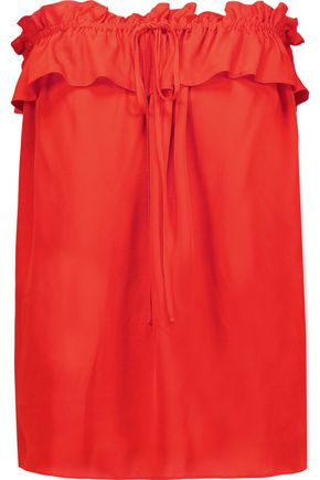 MILLY April strapless ruffled silk-blend top