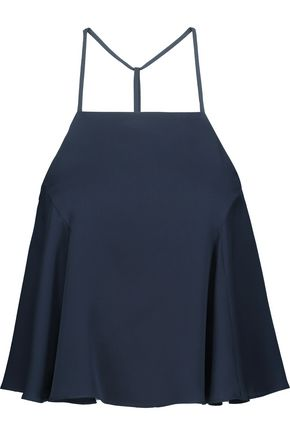 MILLY Cropped pleated silk camisole