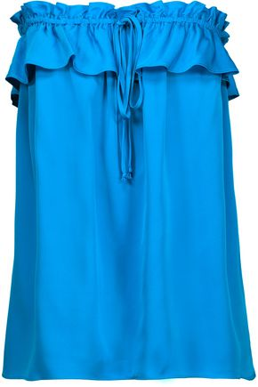 MILLY April strapless ruffled stretch-silk top