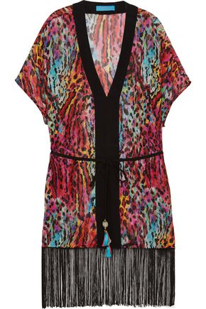 MATTHEW WILLIAMSON Akita Animal fringed leopard-print silk-chiffon kaftan