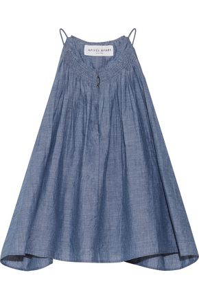 APIECE APART Galisteo smocked cotton-chambray top