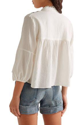 APIECE APART Loreto embroidered cotton-crepon top