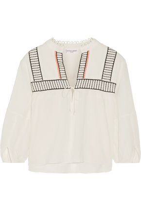 APIECE APART Loreto embroidered cotton-crepon top