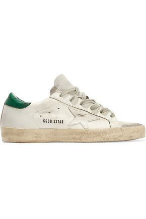 GOLDEN GOOSE DELUXE BRAND Super Star distressed metallic suede-paneled leather sneakers