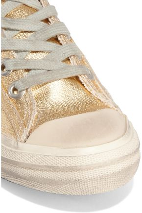 GOLDEN GOOSE DELUXE BRAND V-Star 2 distressed leather-paneled metallic canvas sneakers