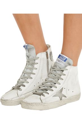 GOLDEN GOOSE DELUXE BRAND Francy distressed suede-paneled leather high-top sneakers